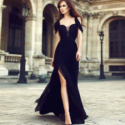 974e936a2411 Black Chiffon Elegant Prom Dress Long Off Shoulder High Split Formal Evening