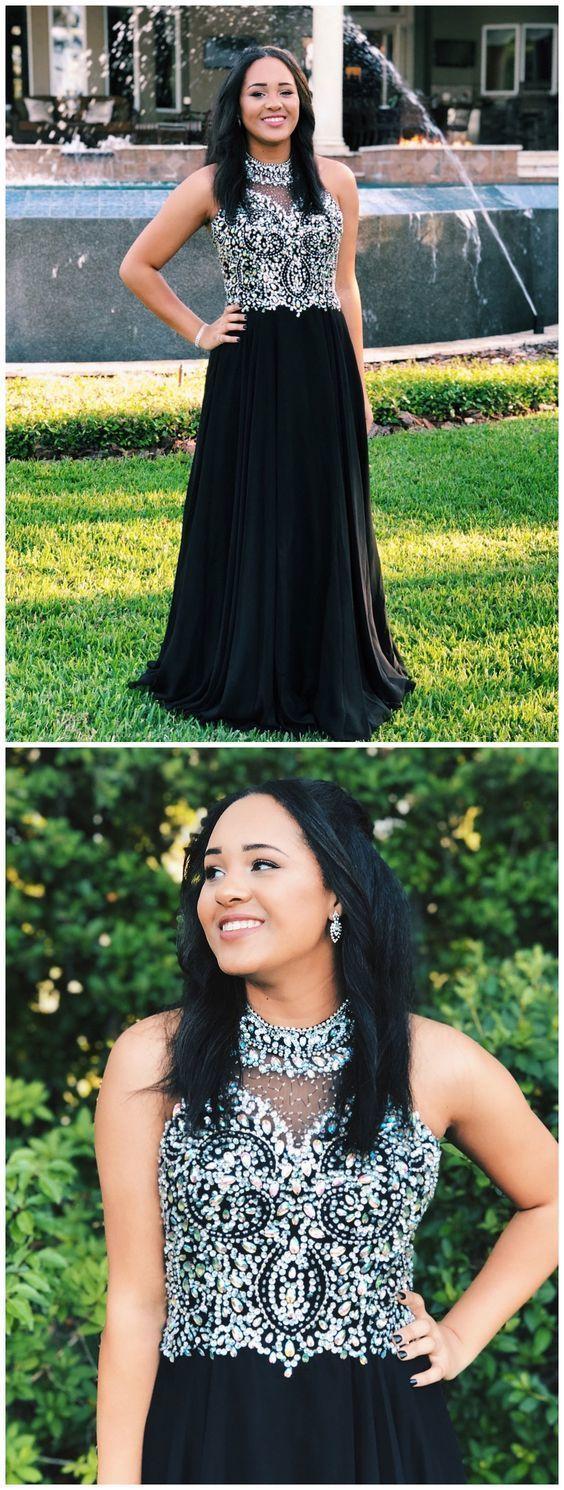 Charming High Neck Crystal Beading Prom Dress, Sexy Sleeveless Long Evening