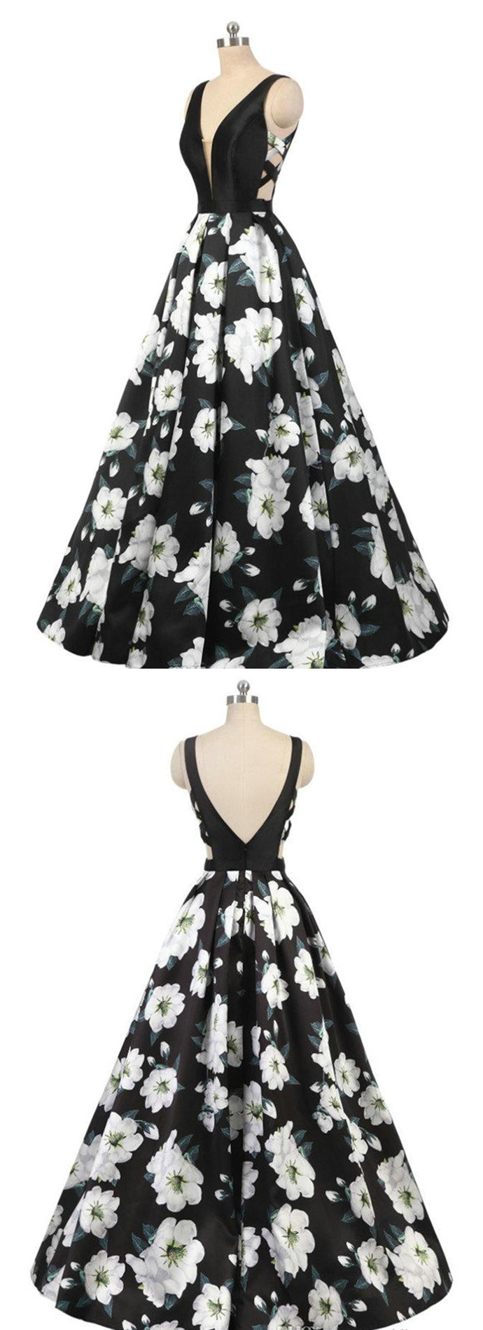 Black And White New 3D Floral Print Long Prom Dress, Evening Dress