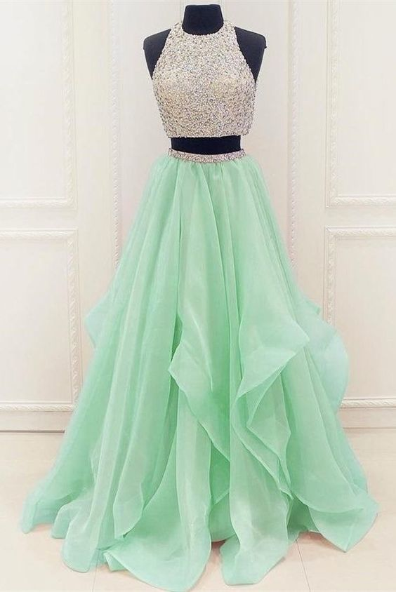 Custom Made Green Tulle Homecoming Dress, Two Piece Prom Dress, Crytal Beading