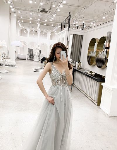 Gray v neck tulle long prom dress, evening dress