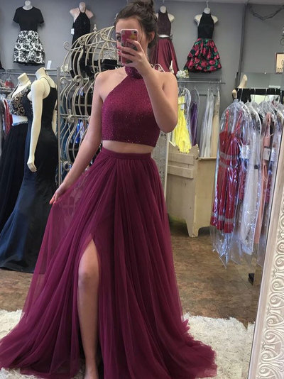 A-line Halter Sweep Train Tulle Rhine Stone Two Piece Burgundy Prom Dresses