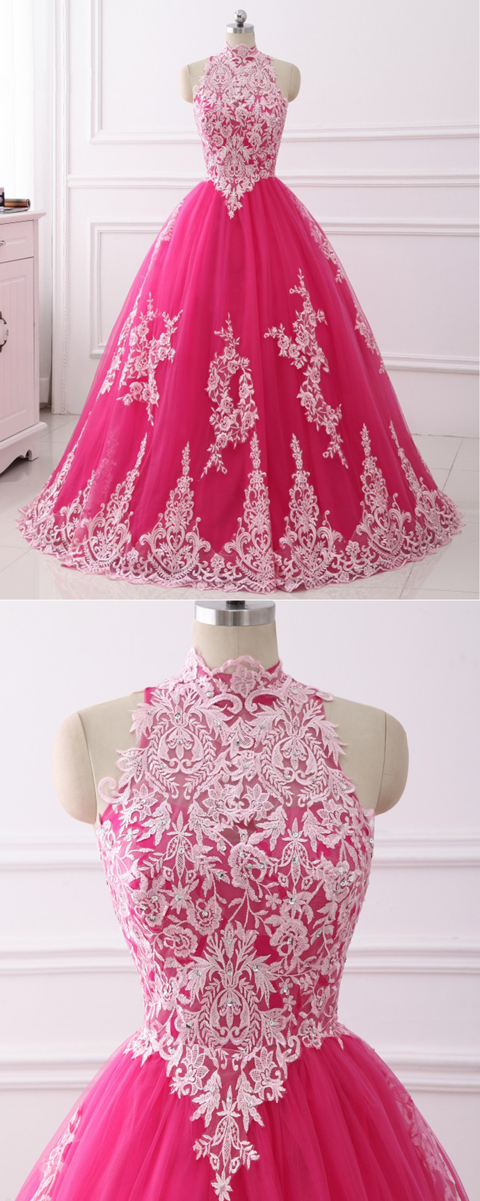 645b2eaa0b Stylish Hot Pink Tulle Long Quinceanera by DestinyDress on Zibbet