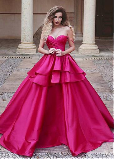 Elegant Satin wedding dress,Sweetheart Neckline party dress,A-line Prom Dress