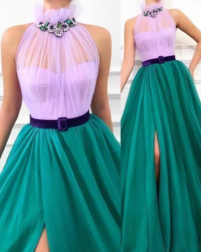 Unique Sexy High Neck Prom Dress Sleeveless High Split Formal Evening Dresses