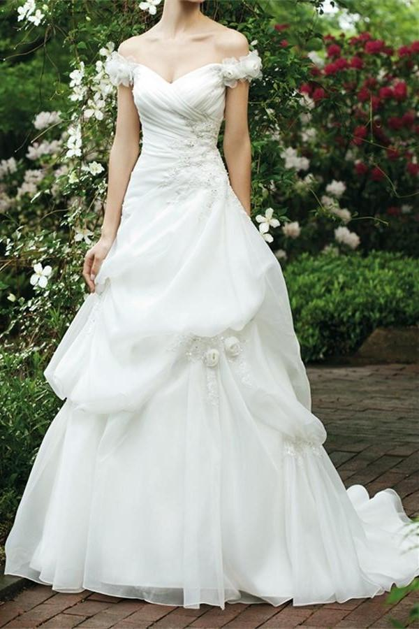 Ivory Long V-neck Off Shoulder Lace Up Beading Wedding Dresses