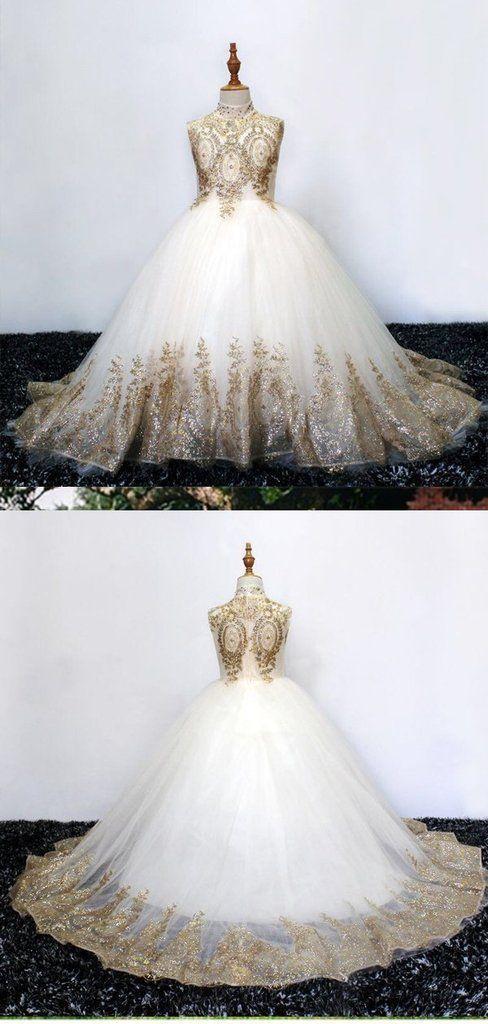 A-line High Neck Gold Lace Long Flower Girl Dresses,Cheap Flower Girl Dresses