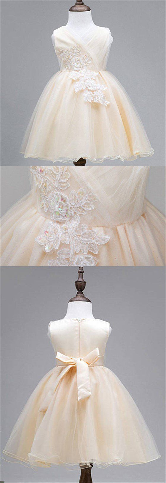 Lace Tulle Cute Flower Girl Dresses, Lovely Affordable Satin Top Little Girl