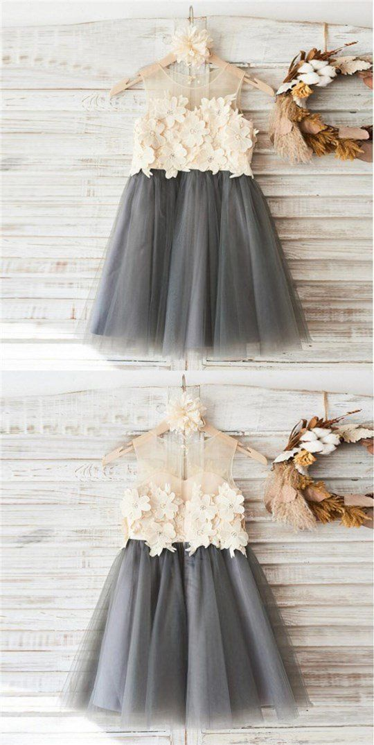 Top Lace Appliques Grey Tulle Sleeveless Cute Custom Flower Girl Dresses, Junior