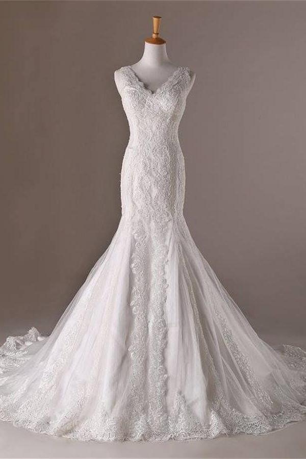 Mermaid V-neck Long Lace Sweep Train Lace Up Modest Wedding Dresses