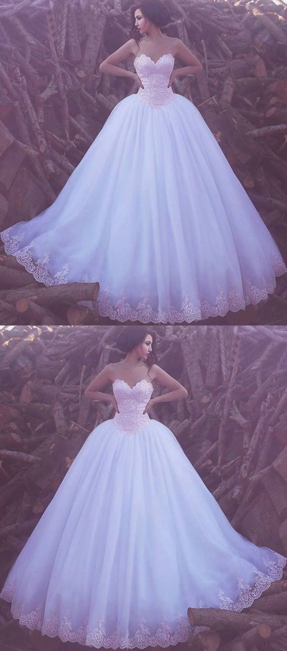 A-line Sweetheart Lace Prom Dresses Tulle Ivory Long Evening Dress