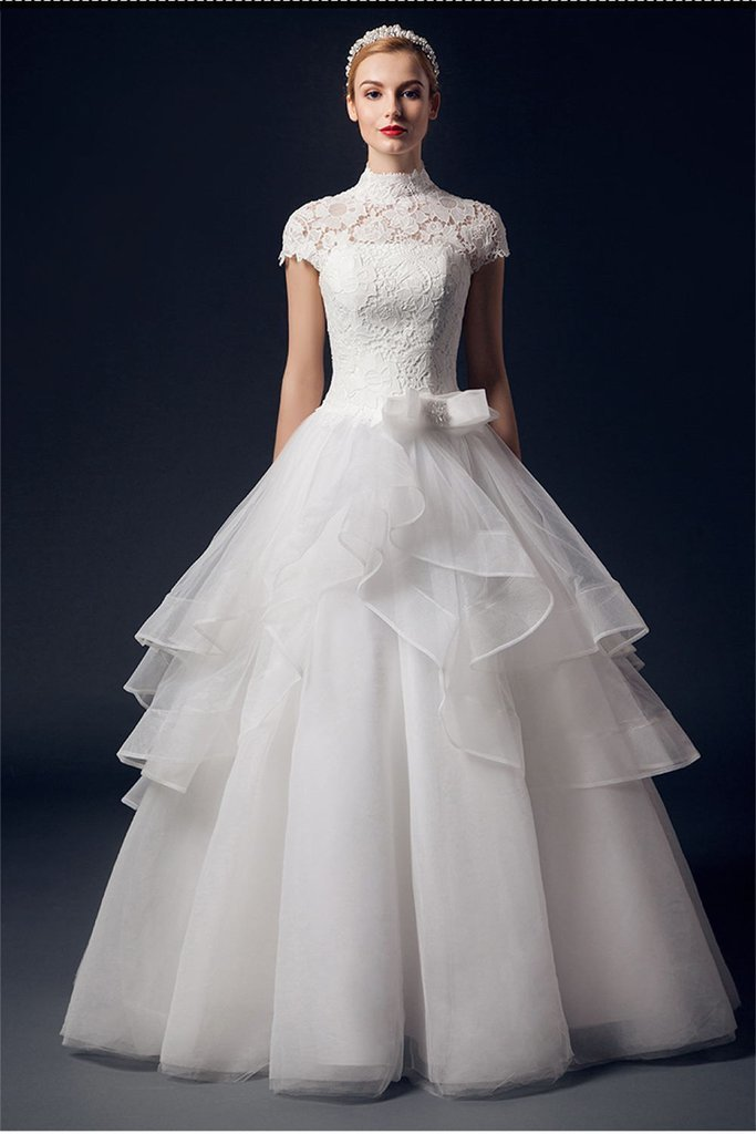 Charming High Neck Short Sleeves Lace Puffy Wedding Dresses