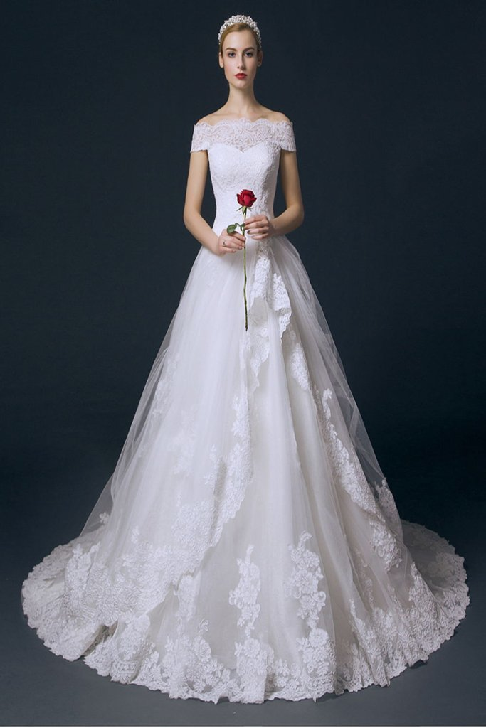 Boat Neck Long Ball Gown Big Wedding Dresses With Flower