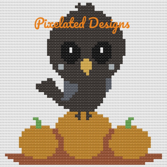 Baby Bird with Pumpkins Pattern - SC - 60x60 - Graph w/Written - Full Version