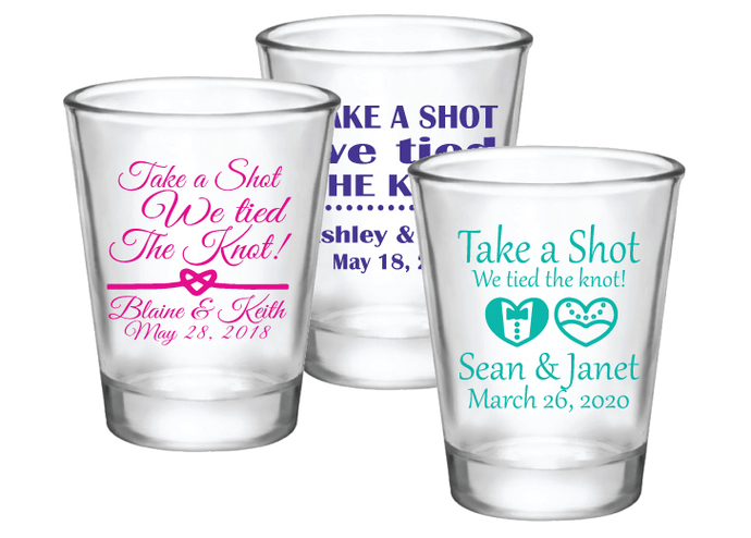 Take a shot we tied the knot personalized wedding favor shot glasses