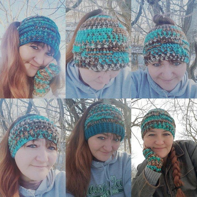 PDF Pattern, Messy Bun Hat, Pigtail Hat, Winter Beanie, Fall Hat, Fall fashion,
