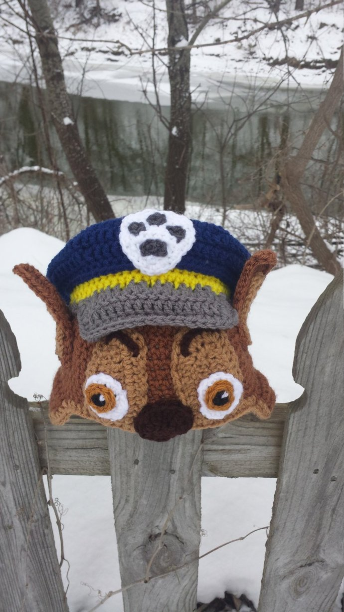 Paw Patrol Chase Inspired Puppy Cop Crochet Costume Hat Scarf Glove, Halloween