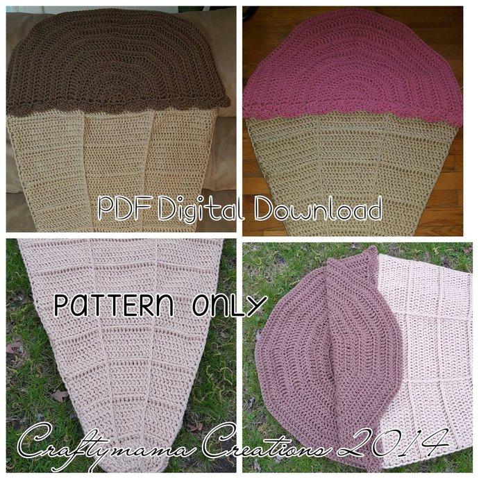 Ice Cream Lounge Blanket Crochet Pattern, wearable food, ice cream blanket,