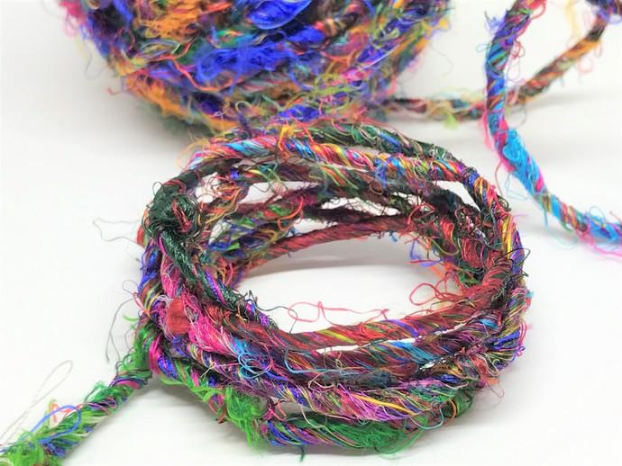 Boho Gypsy HandSpun Recycled Silk Sari Yarn MULTI COLOR MIX 3 Yard lengths