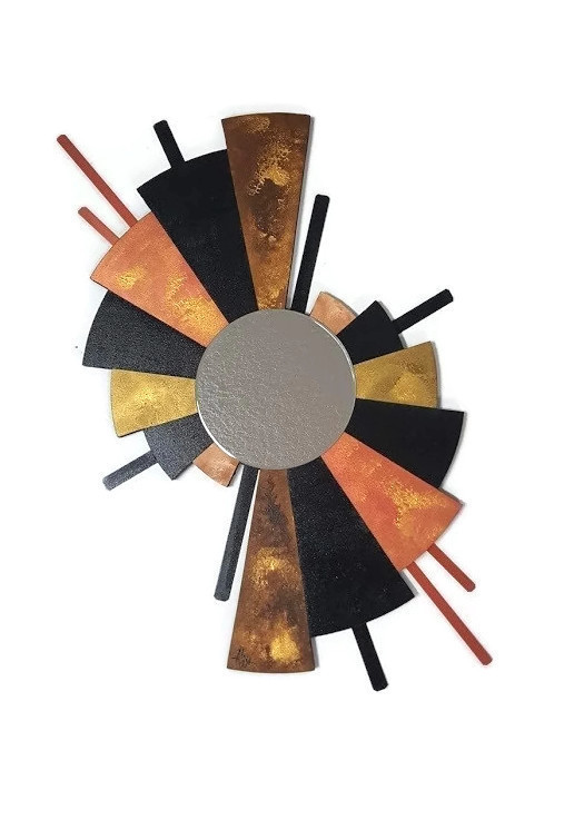 Contemporary Fan Mirror Wall Art Wood And Metal By Divaart69 On