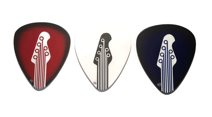 3 Guitar picks Music wall decor hangings, Unique Music Wood Wall art by Art69