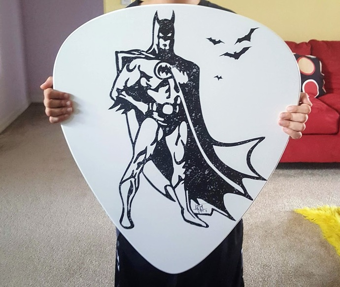 Batman inspired wall art, batman wall hanging, guitar pick wall sculpture