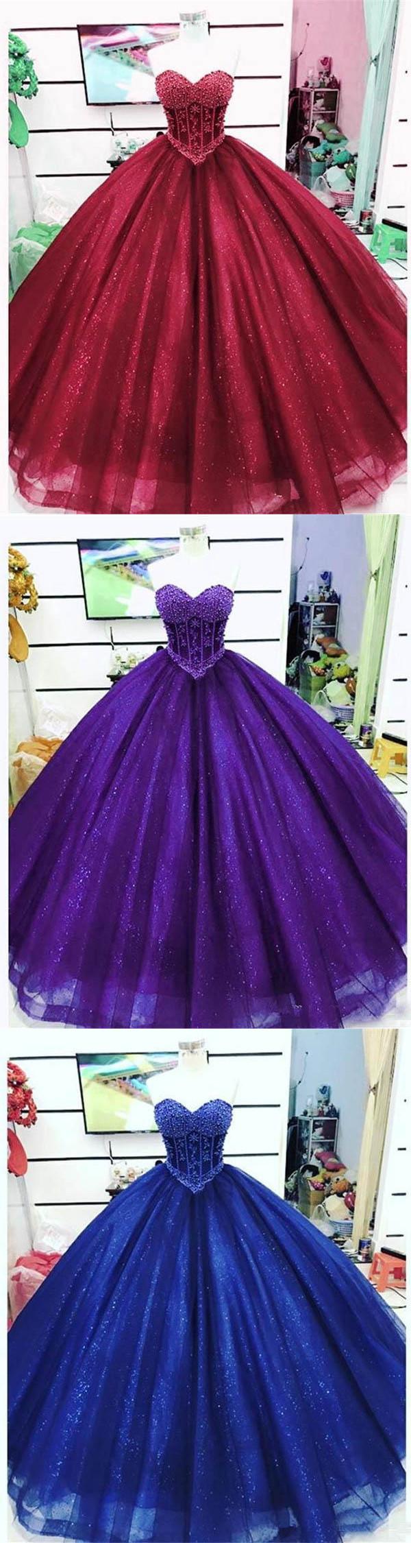 d044b57ebe7 Sparkly Burgundy Quinceanera Dresses Beaded Pearls Sweet 16 Dress vestidos  de