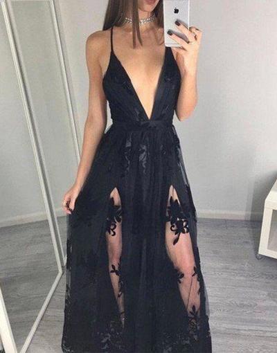 Sexy Prom Dresses Spaghetti Straps Prom Dressdeep By Hiprom On