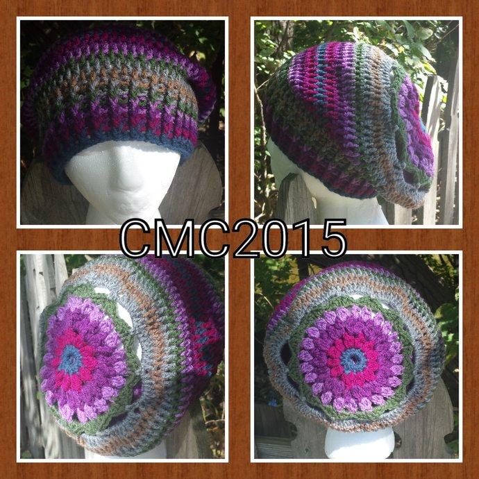 Crochet Pattern, Rose Sunburst Slouch, PDF File Only, Slouchy, Fall Fashion,