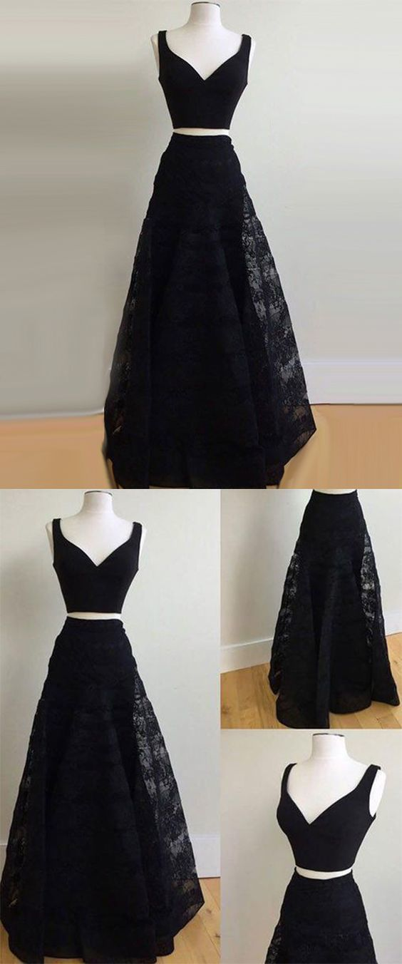 Black Lace Long Prom Dress, Sexy V neck Evening Party Gown, Pretty Homecoming
