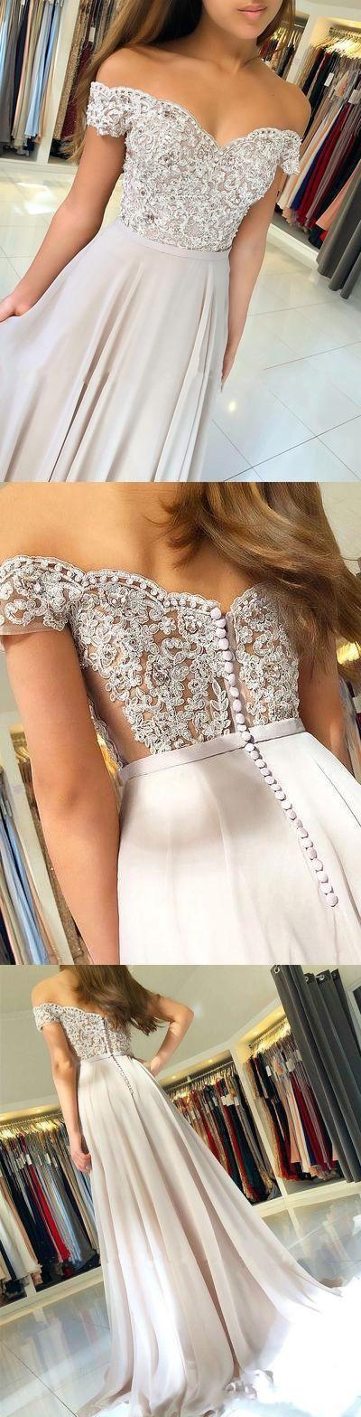 Charming Off Shoulder Appliques Prom Dress, Elegant Long Prom Dress, Evening