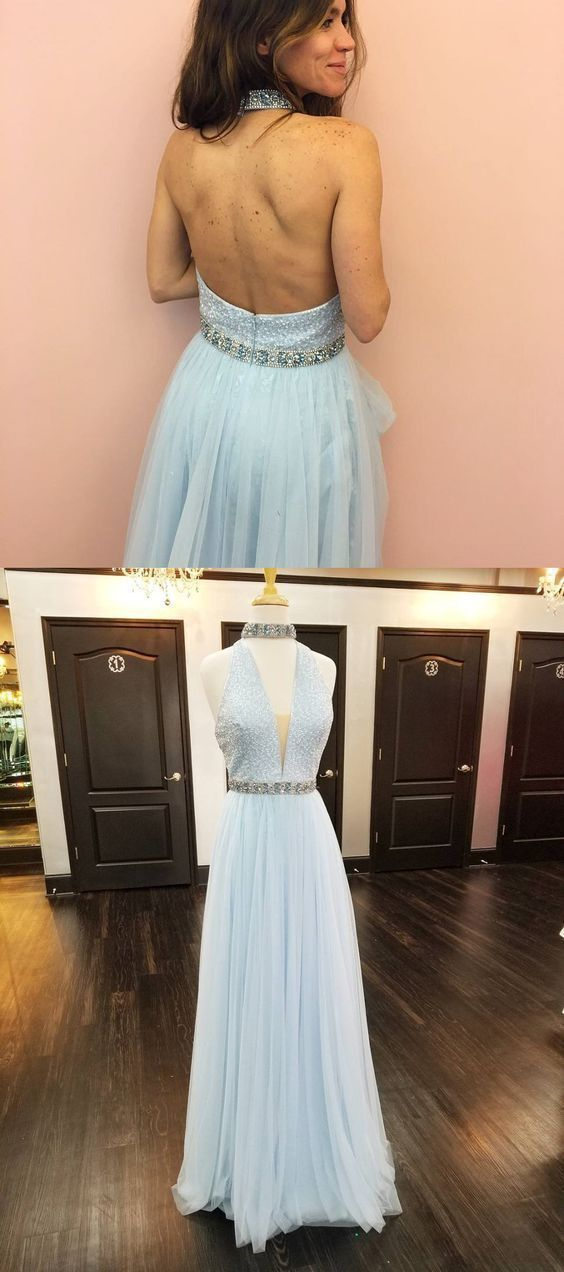 Light Blue Backless Prom Dress, Sexy Tulle Homecoming Dress, Long Party Dress