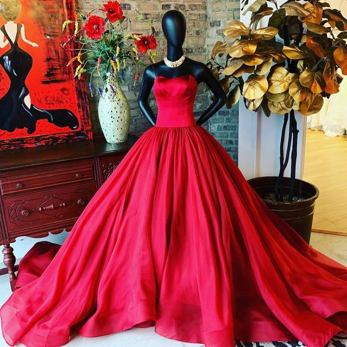Strapless Red Long Ball Gown