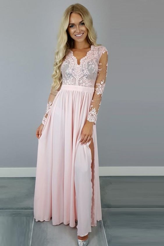 53caef85b9066 Beautiful A-Line V-Neck Long Sleeves Pink Chiffon Prom Dress with Appliques,