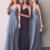 Double Straps Dusty Blue Long Bridesmaid Dress