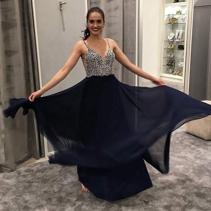Strappy Beading Navy Blue Chiffon Long Prom Dress