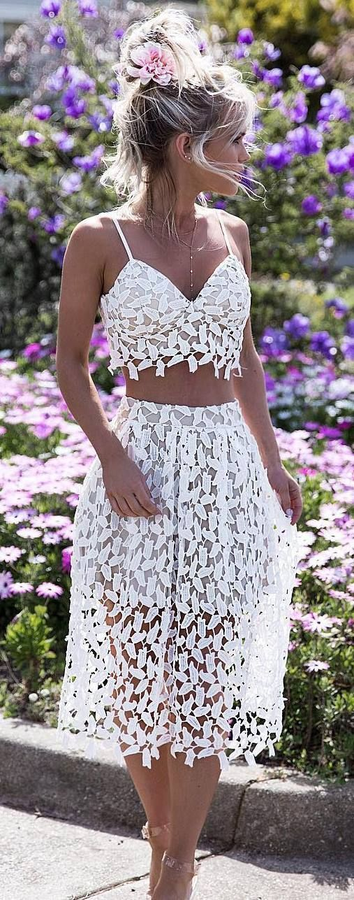c54e6db9a5f Modest two piece white lace prom dresses