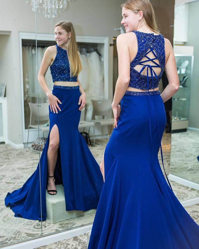 Gorgeous Two Piece Mermaid Royal Blue Formal Dress