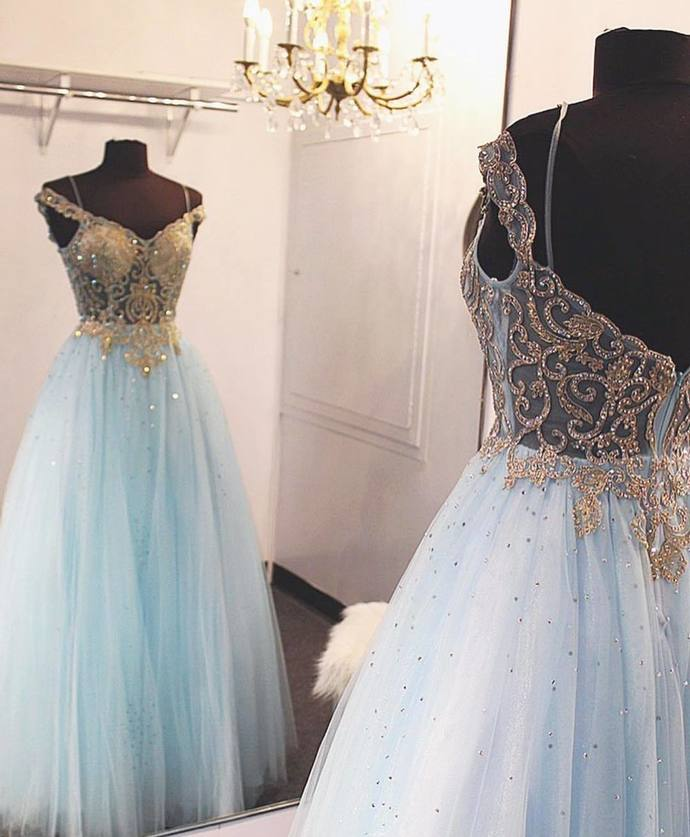 Off the Shoulder Gold Sequin Light Sky Blue Long Prom Dress Ball Gown