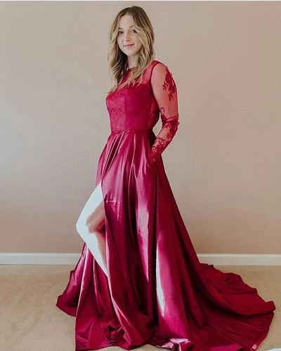 Gorgeous Long Sleeves Fuchsia Long Prom Dress Slit