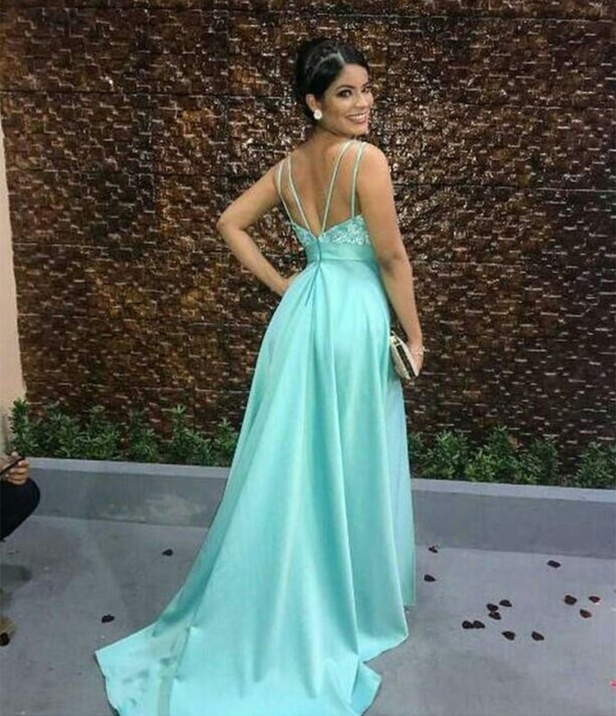V Neck Prom Dresses with Split
