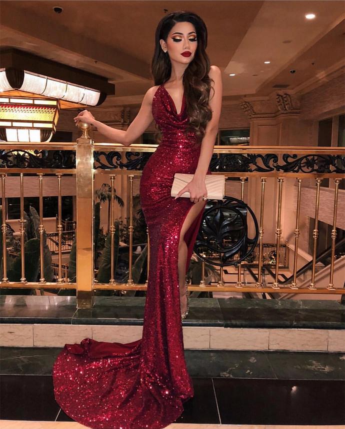 Backless Halter Dark Red Sequin Prom Dress
