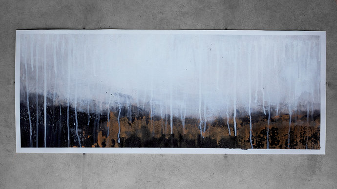 Horizontal abstract original painting, black and white artwork, landscape