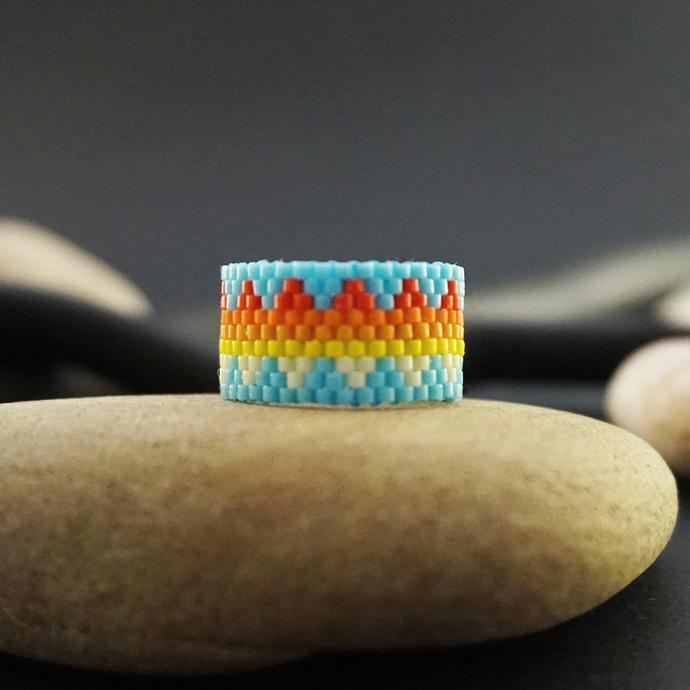 Boho rings for women, Beaded ring, Fashion rings Tribal ring Hippie ring Wide