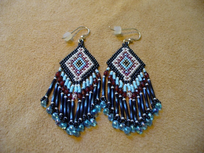 Native American Style Brick Stitched Rug design Earrings in Black,Beige, Red and