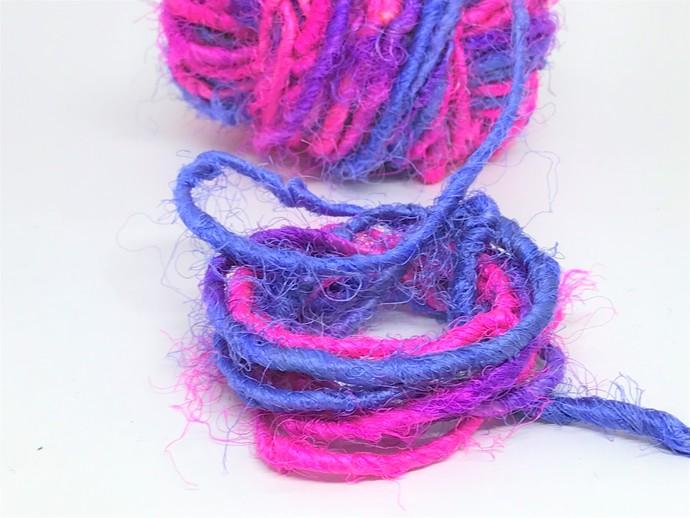 Boho Gypsy HandSpun Recycled Silk Sari Yarn BRIGHT PURPLE PINK 2 or 3 Yard