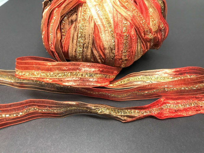Louisa Harding Sari Yarn Pumpkin LATE FALL Orange Mix with GOLD Metallic Center