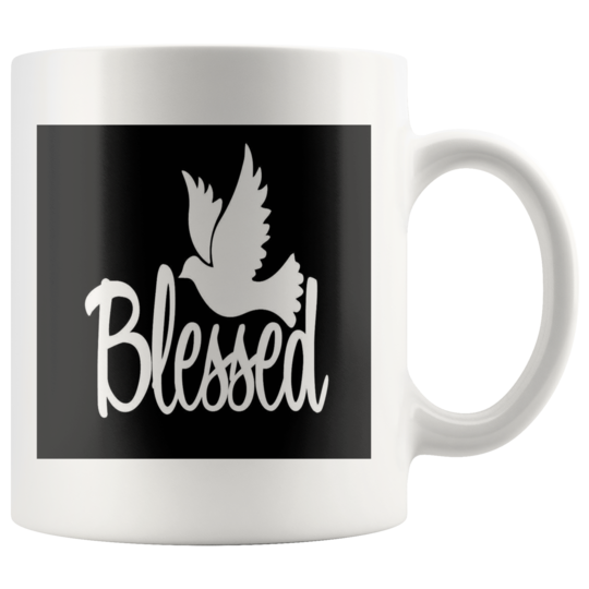Mug Blessed with dove design,cup,gift for christian,Jesus,Bible,God