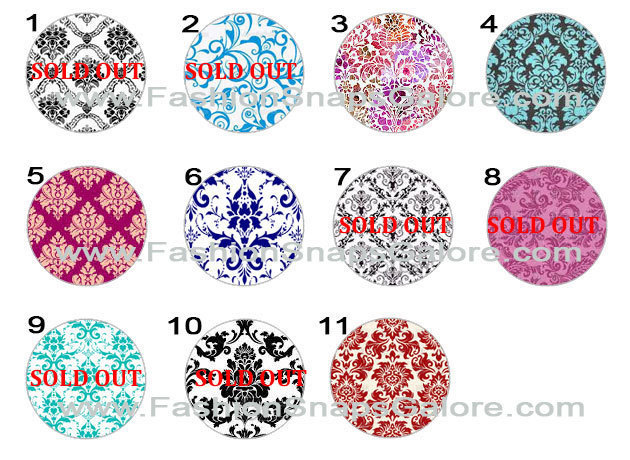 1.00 snaps, Damask, Damask Snaps jewelry, snap charms, ginger snaps jewelry,