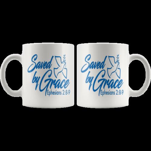 Saved-by-grace-mug,christian gift,inspirational,Blue Ink